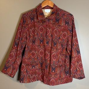 3 for $20! Tradition paisley zip up sweater/coat